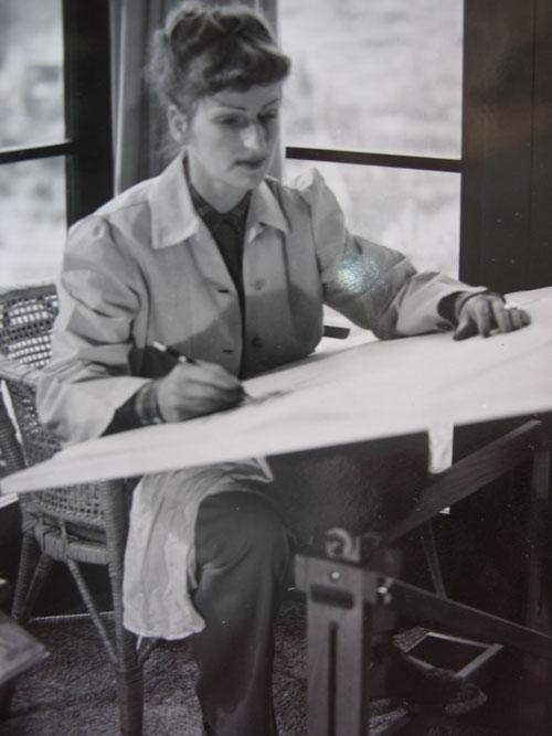 Mary Blair at drawing table